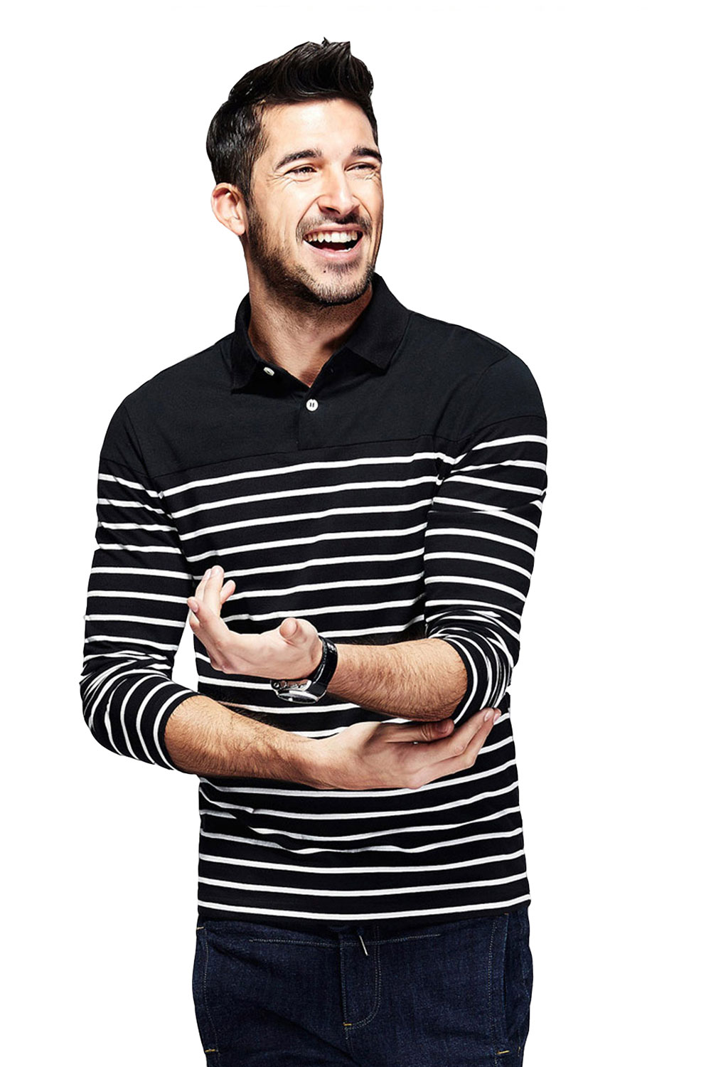 bae78160a59 fanideaz Branded Men s Full Sleeve Cotton Black and White Striped Polo T  Shirt