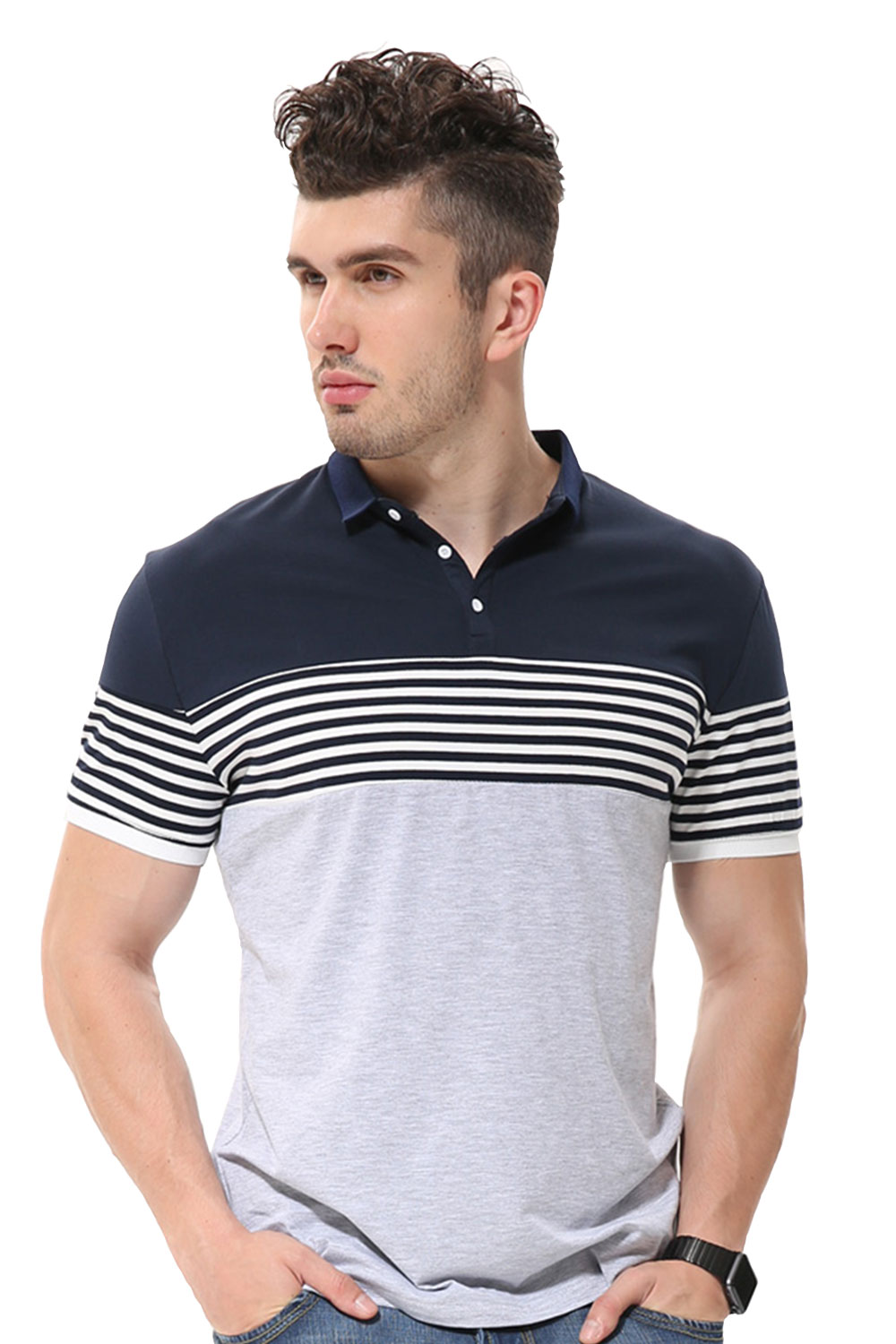 9bf2bbfd573d Fanideaz Branded Men s Half Sleeve Grey with White Contrast Striped Polo T  shirt